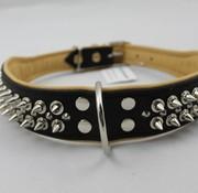 Dog's Companion Leren halsband - met spikes - Zwart/Naturel - 60-73 cm x 50 mm