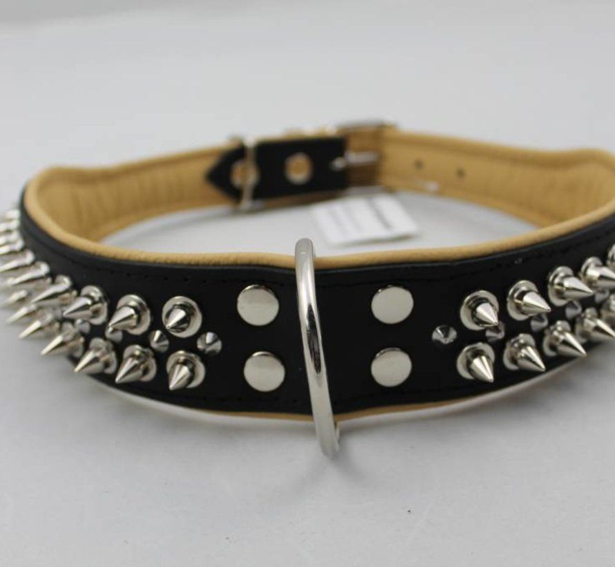 Leren halsband - met spikes - Zwart/Naturel - 60-73 cm x 50 mm