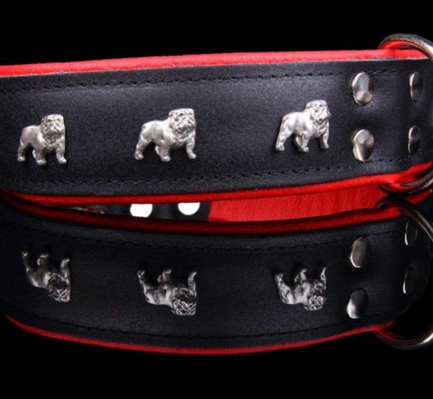 Leather dog collar English bulldog