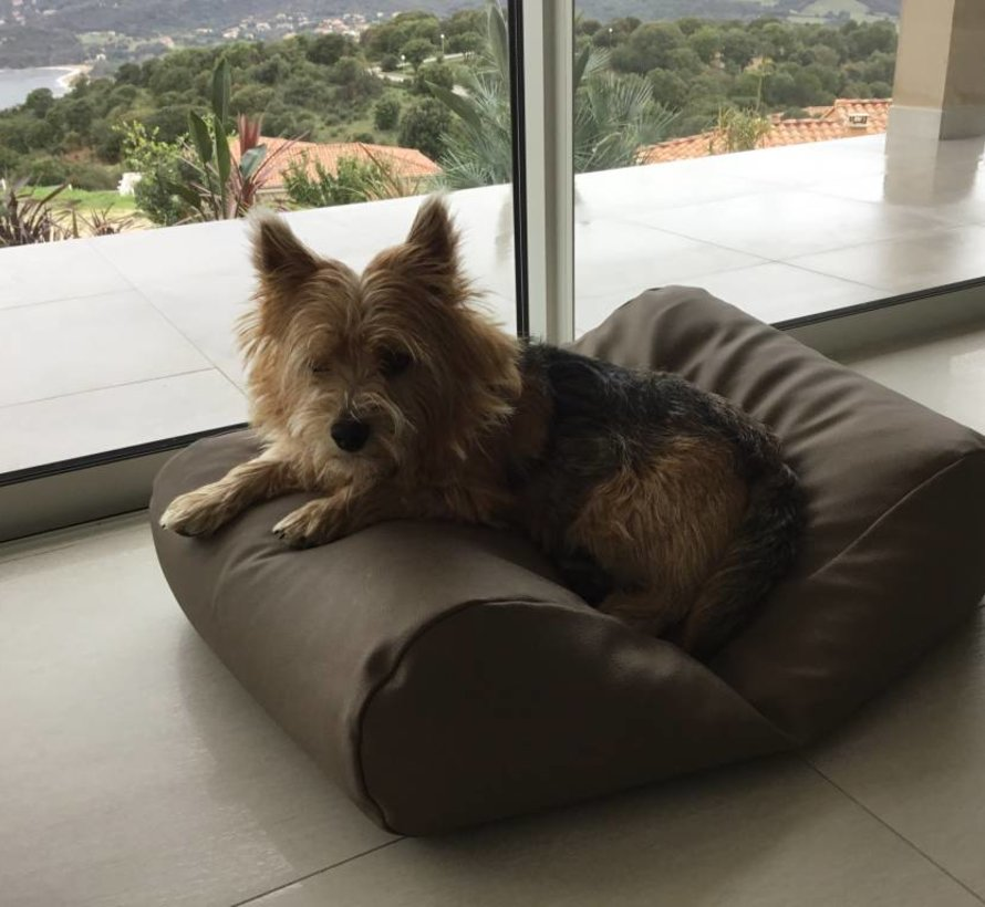 Dog bed taupe leather look