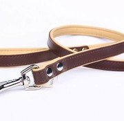 Leather dog leash brown/naturel (flat)