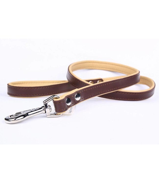 Leather dog leash brown/naturel (flat)