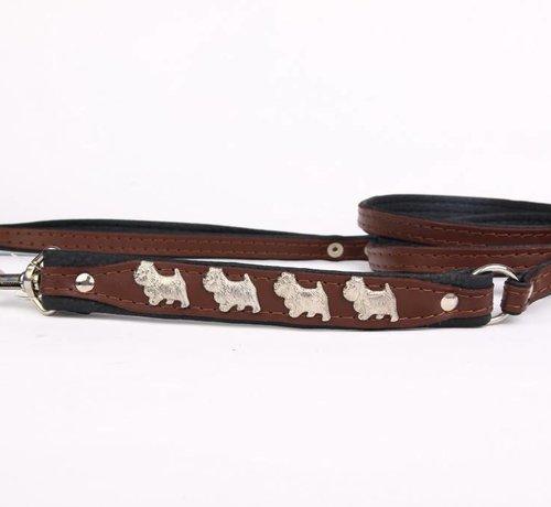 Leather dog leash West Highland Terrier