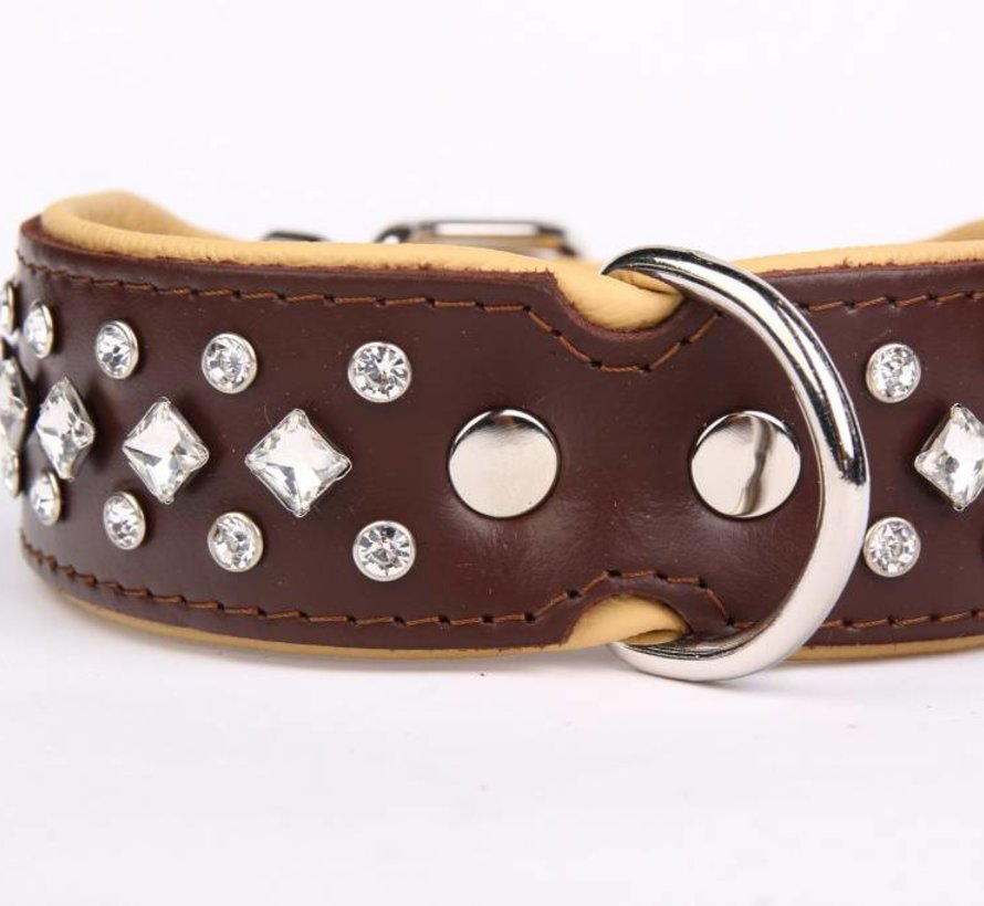 Leather Collar with Crystals