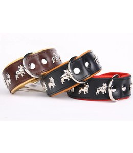 Leather dog collar French Bulldog