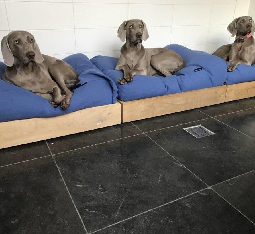 Dog bed Manhattan blue linen Small
