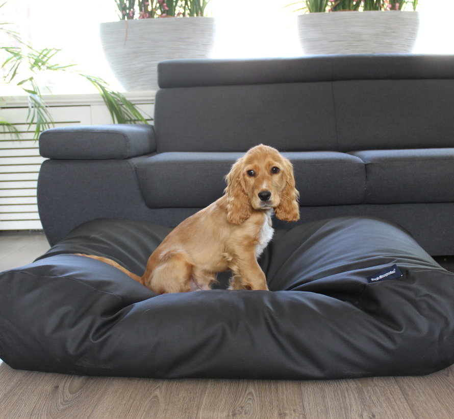 Dog bed black leather look Small