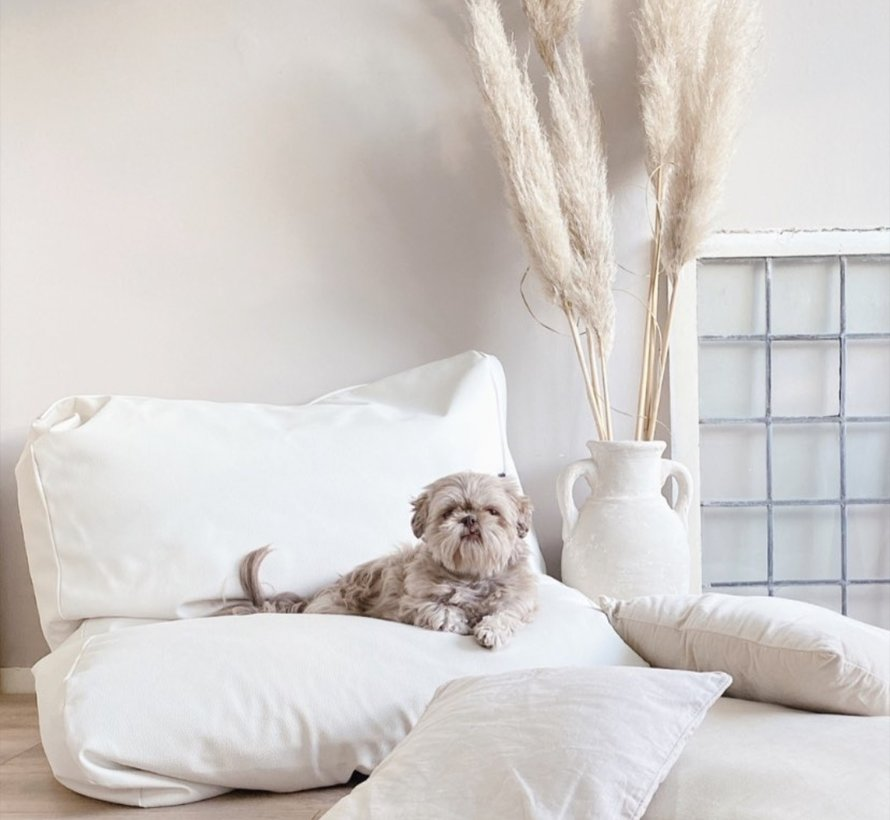 Dog bed ivory leather look Medium