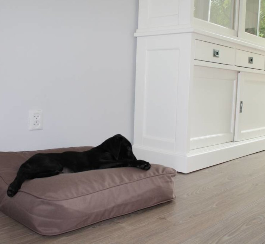 Dog bed bench cushion taupe (68 x 62 x 10 cm)