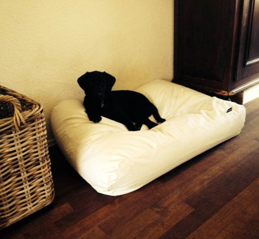Dog bed ivory leather look Extra Small