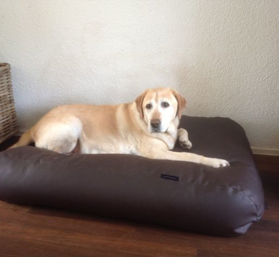 Dog bed chocolate brown leather look Superlarge