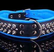 Dog's Companion Leren halsband - met spikes - Zwart/Blauw - 51-60 cm x 50 mm