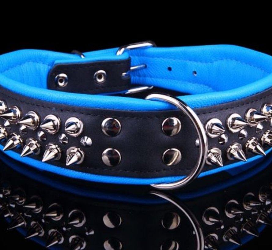 Leren halsband - met spikes - Zwart/Blauw - 51-60 cm x 50 mm