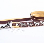 Leather dog leash Pug