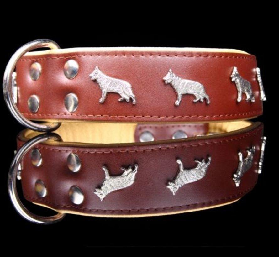 Leren halsband -Duitse Herder - Bruin/Naturel - 60-73 cm x 50 mm
