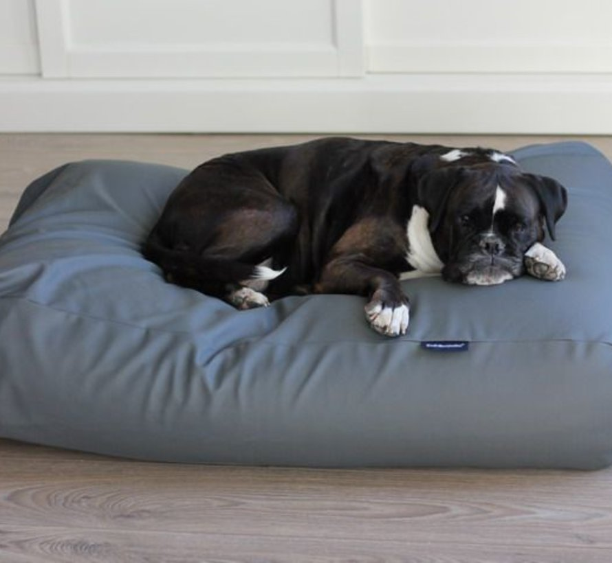 Dog bed mouse grey leather look Medium