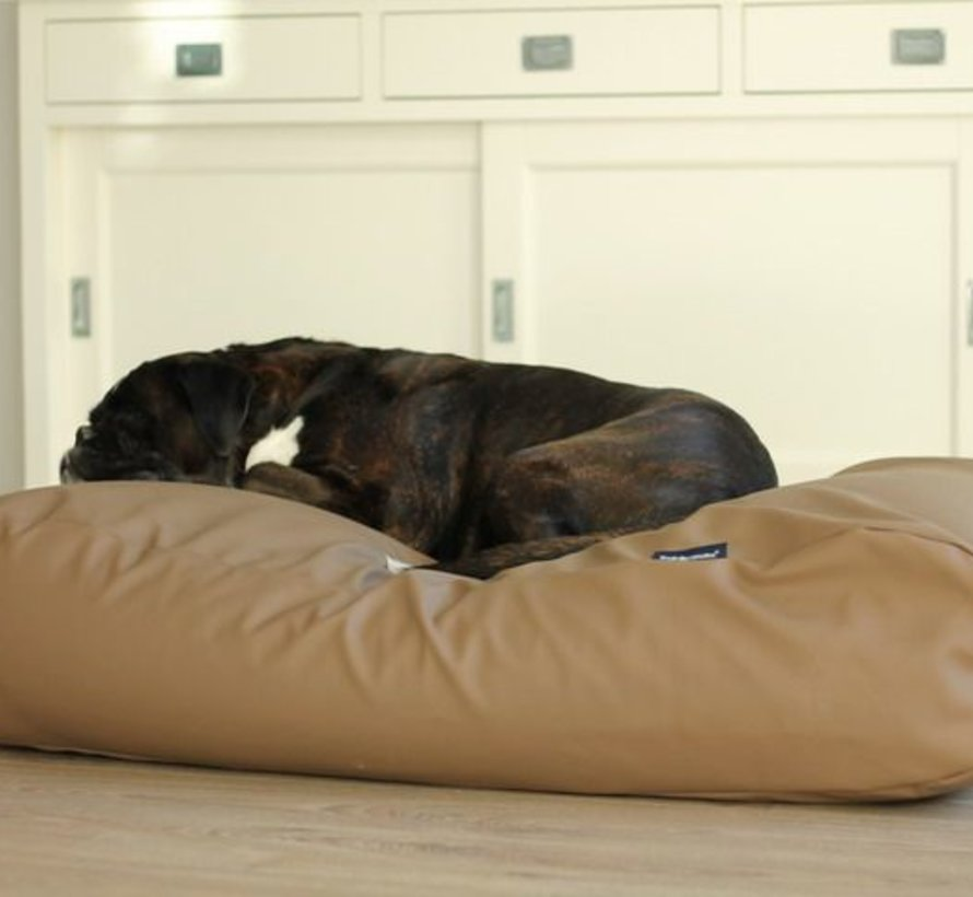 Dog bed taupe leather look Small