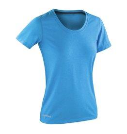 Spiro Fitness Women's Shiny Marl T-shirt Ocean Blue/Phantom Grey