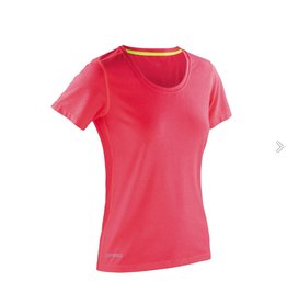 Spiro Fitness Women's Shiny Marl T-shirt Hot Coral/Lime Punch