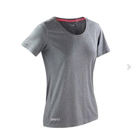 Spiro Fitness Women's Shiny Marl T-shirt Sport Grey/ Hot Coral