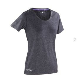 Spiro Fitness Women's Shiny Marl T-shirt Phantom Grey/ Lavender
