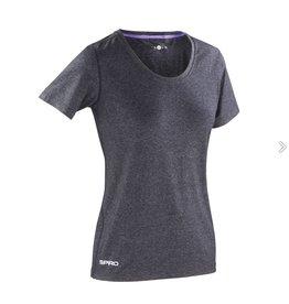 Spiro Fitness Women's Shiny Marl T-shirt Phantom Grey/ Lavender