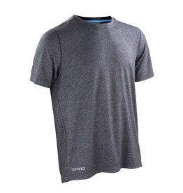 Spiro Fitness Men's Shiny Marl T-shirt Phantom Grey/ Ocean Blue