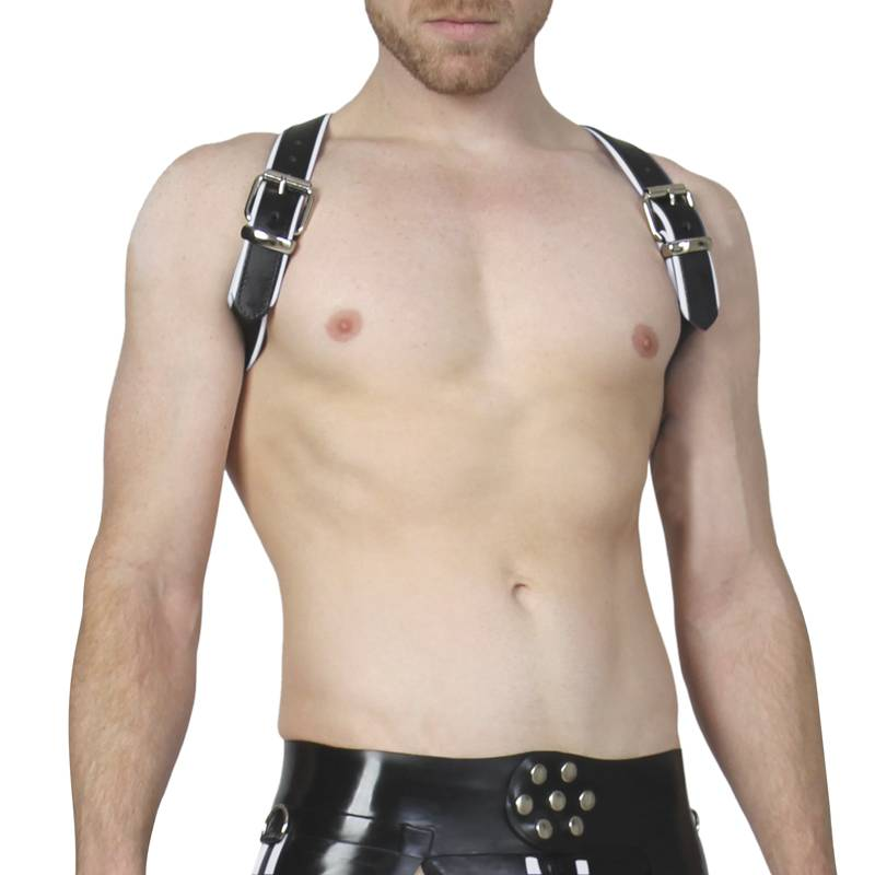 RoB Shoulder Harness black with white Piping