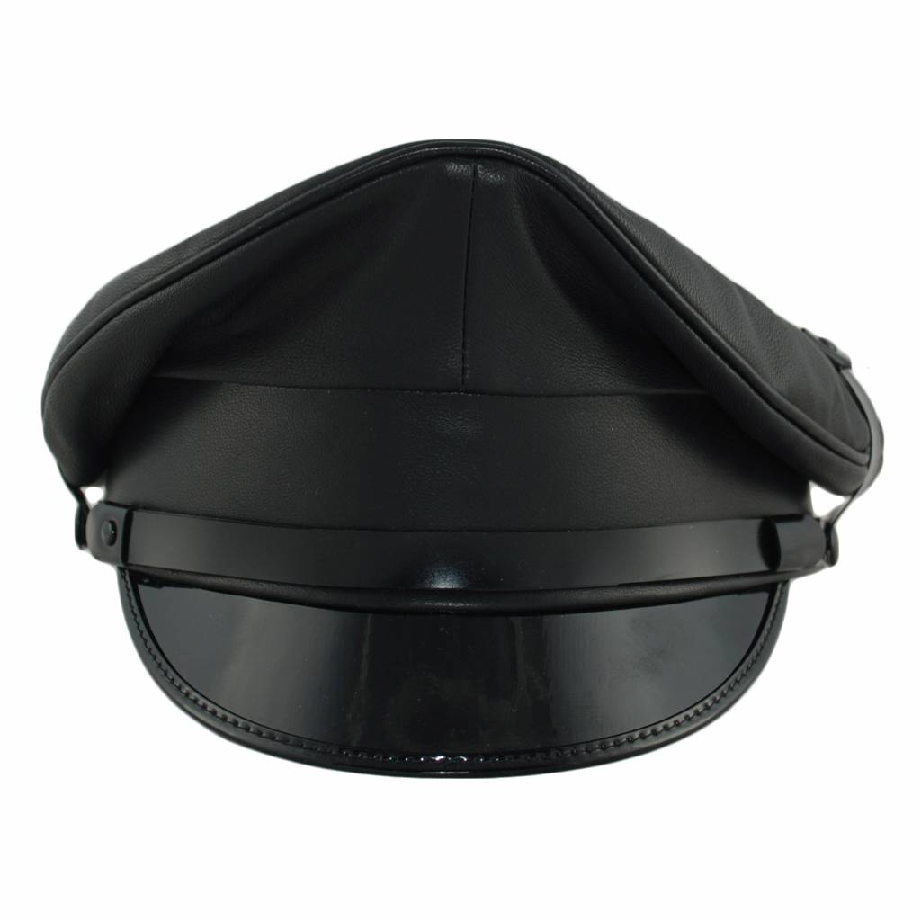 Leather Military Cap, Black Trim