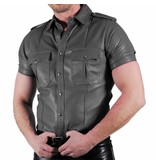 Police Shirt Soft Leather Grey, Premium Finish