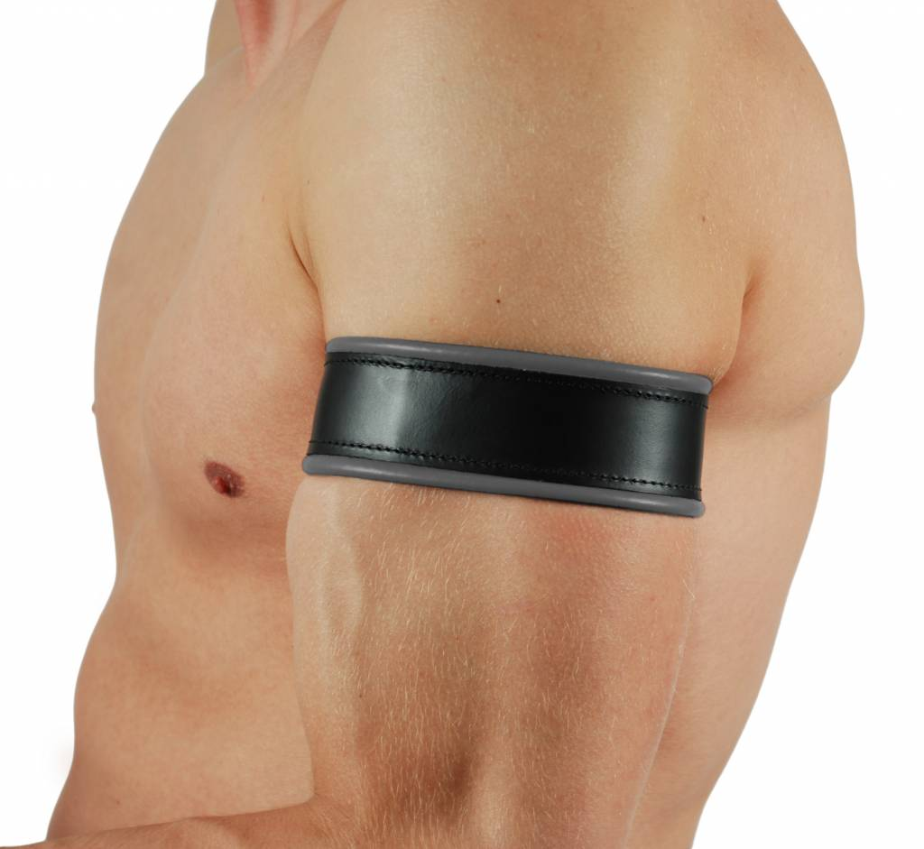 RoB Leather Biceps Band with Laces, Coloured Piping