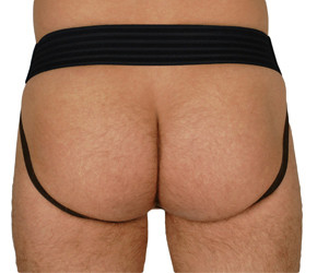 RoB Leather Jockstrap with Front Zip and Grey Stripes