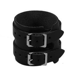 RoB Leather Wristband, 2 Buckles, Black