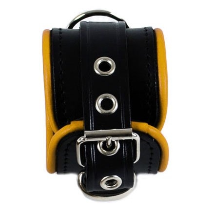 RoB Leather Wrist Restaints Small Yellow Piping