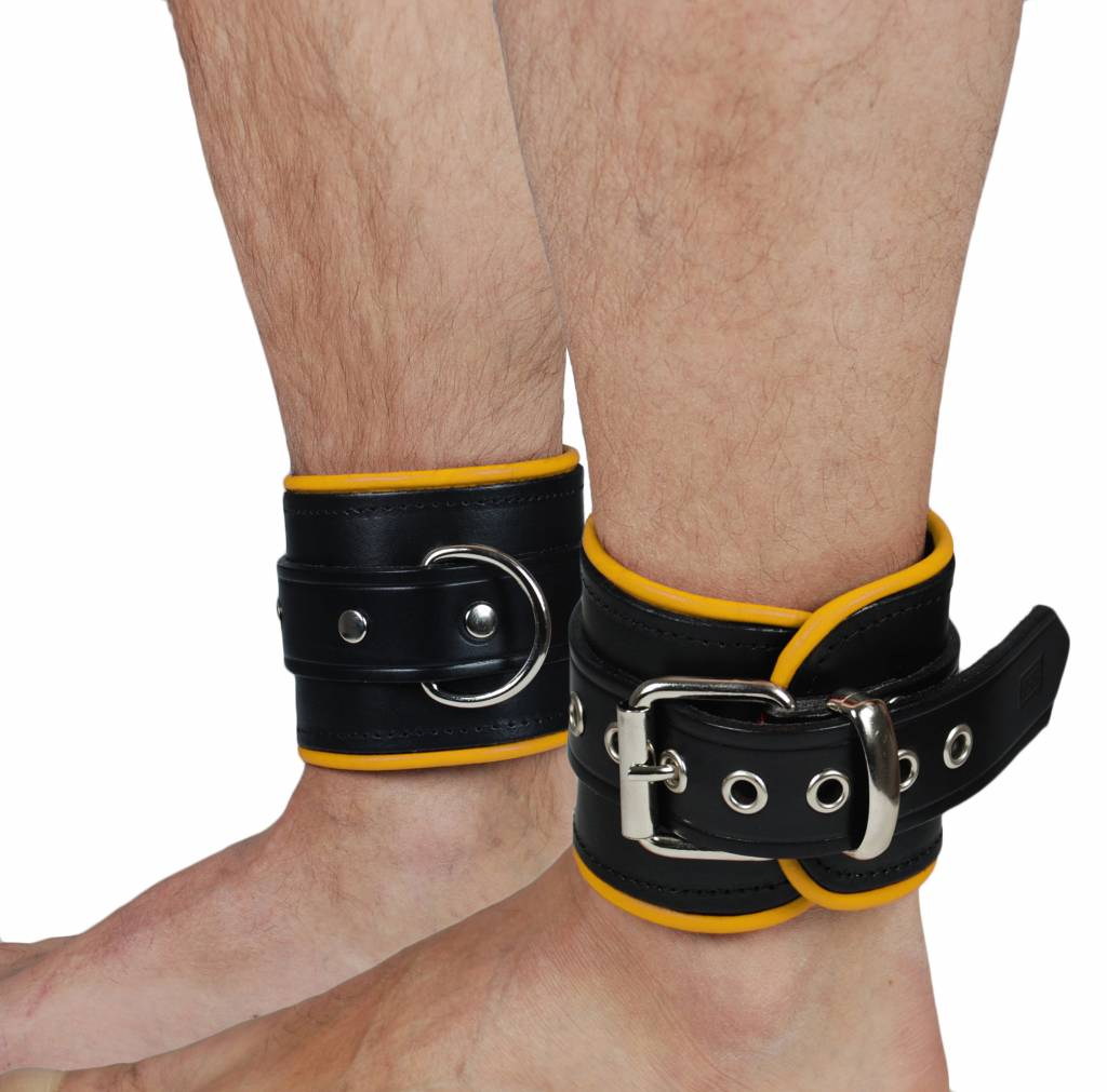 RoB Leather Ankle Restaints Yellow Piping