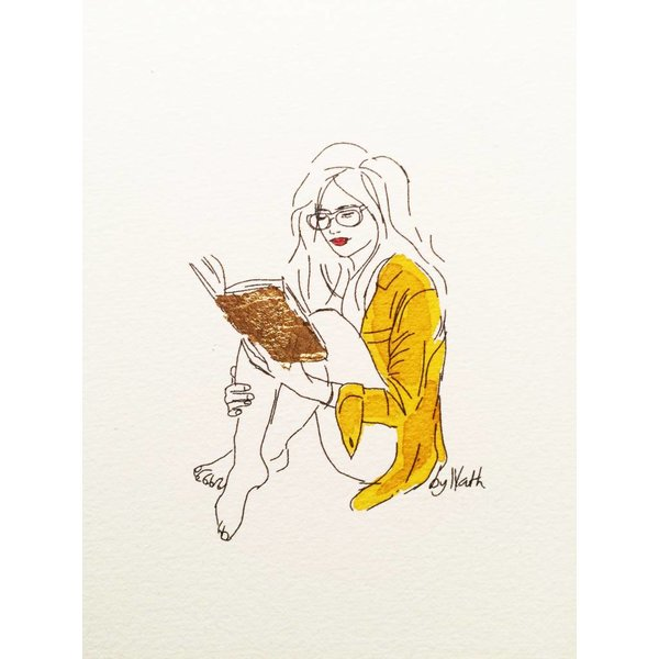 ART PRINT WITH BOOK GOLD