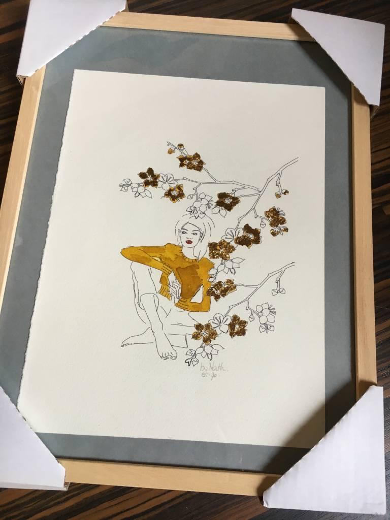 ART PRINT GOLDEN FLOWERS  A3 (framed)