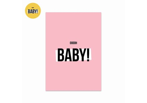 Studio Stationery Card Ooooh baby Girl, per 5 pieces