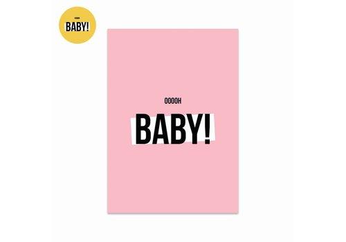 Studio Stationery Kaart Ooooh baby Girl, per 5 stuks