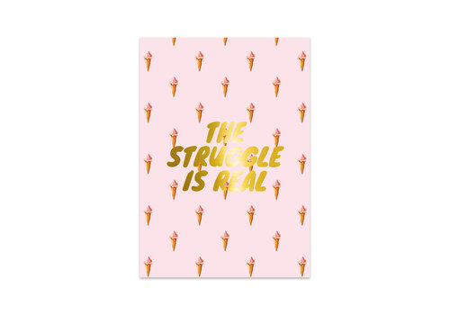 Studio Stationery Kaart Struggle Gold, per 5 stuks