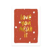 Kaart Love you mean it, per 5 stuks