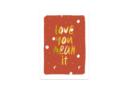 Studio Stationery Kaart Love you mean it, per 5 stuks