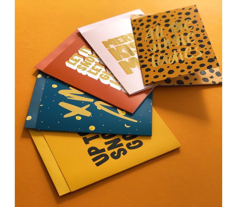Xmas card Merry kissmas, per 5 pieces