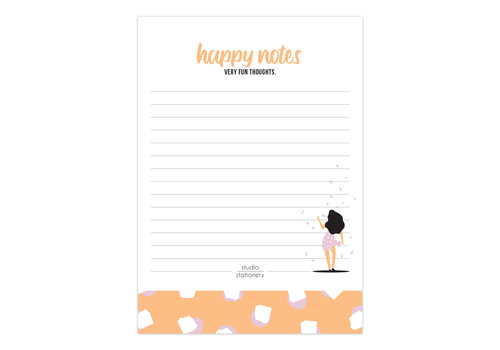 Studio Stationery A6 Noteblock Happy Notes Very Fun Blush, per 6 stuks