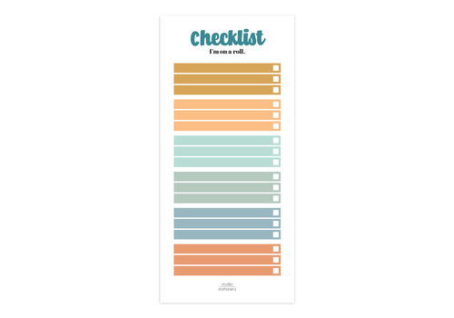 Studio Stationery Noteblock Checklist I'm on a roll Multicolor, per 5 stuks