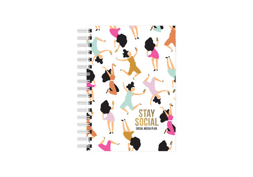 Studio Stationery A6 Notebook Stay Social - Social media plan, per 3 stuks