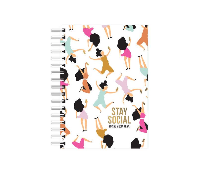 A6 Notebook Stay Social - Social media plan, per 3 pieces
