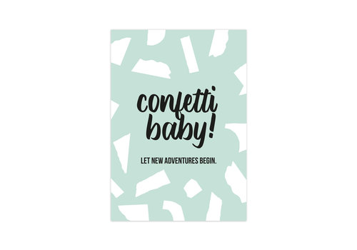 Studio Stationery Kaart Confetti Baby, per 10 stuks