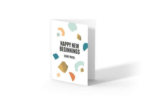 Studio Stationery Greeting card Happy New Beginnings, per 10 pieces