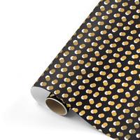 Gift wrap Dots black/gold 70x200 cm, per 10